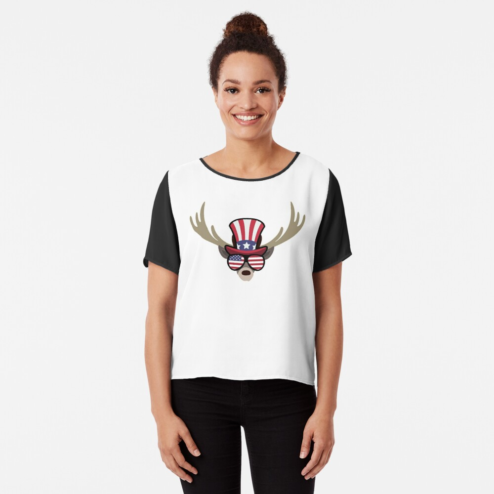 Deer Happy 4th Of July Blusa