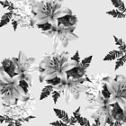 LILY SILVER GRAY AND BLACK WITH WHITE HYDRANGEAS by Saundra Myles