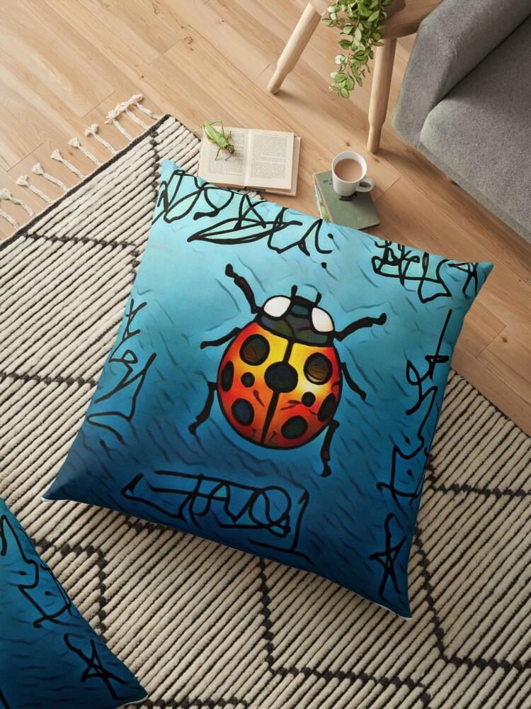 Lady bug / graffiti art / Lady bug pillow by AlyinWonderland