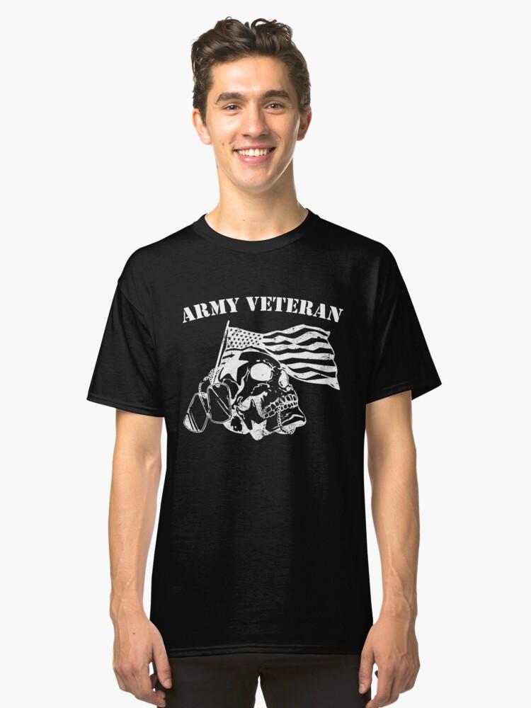 Army veteran skull skeleton design dog tags Classic T-Shirt Front