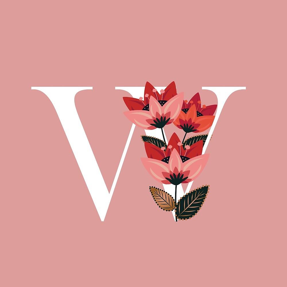Venice Floral Monogram  by werlangpaper