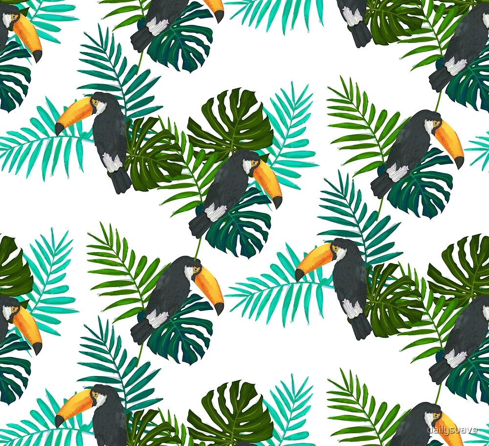 Tropical Toucan Pattern by dailysuave