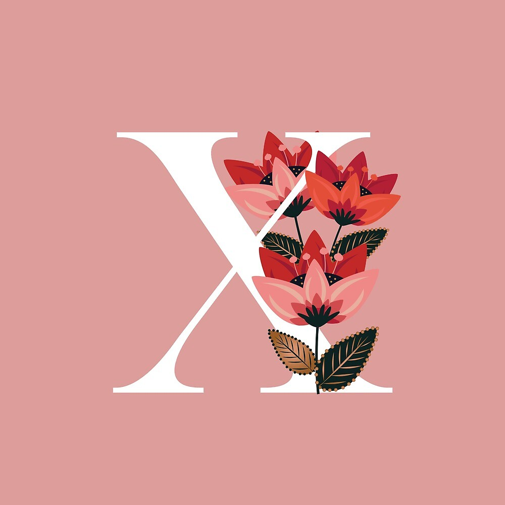 Venice Floral Monogram X by werlangpaper
