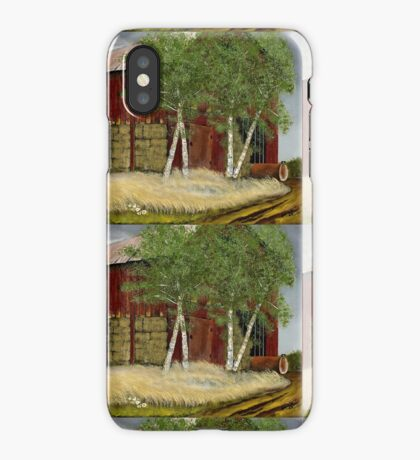 OLD MAN WALKER'S BARN, Acrylic Painting, for prints and products iPhone Case