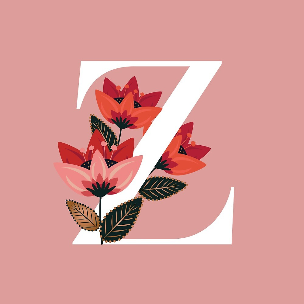 Venice Floral Monogram Z by werlangpaper