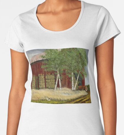 OLD MAN WALKER'S BARN, Acrylic Painting, for prints and products Women's Premium T-Shirt