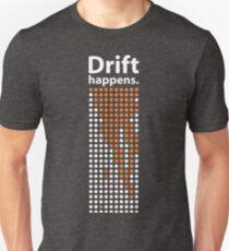 Camiseta unisex Deriva sucede. (Variante de luz)