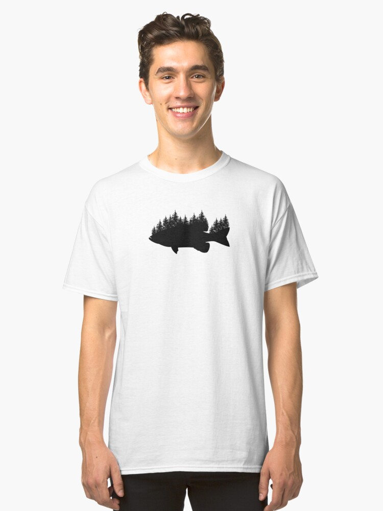 Fishing Smallmouth Bass Trees Silhouette Design Classic T-Shirt Front
