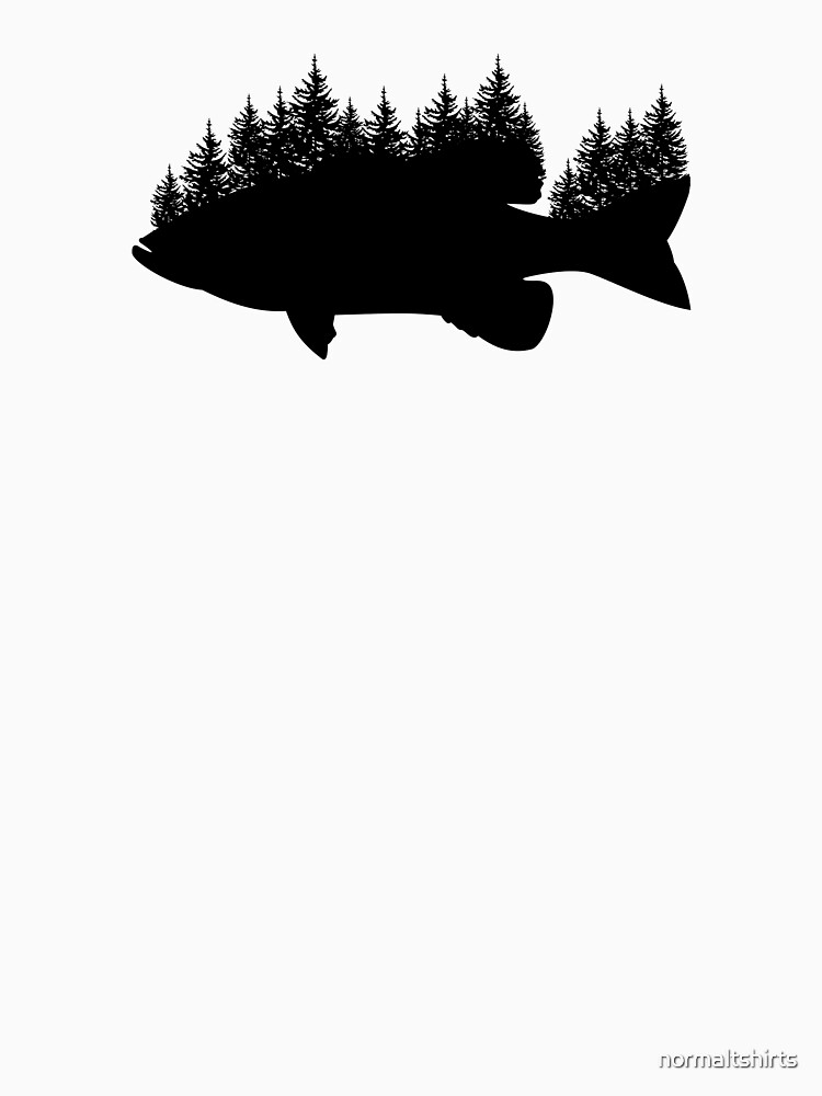 Fishing Smallmouth Bass Trees Silhouette Design by normaltshirts