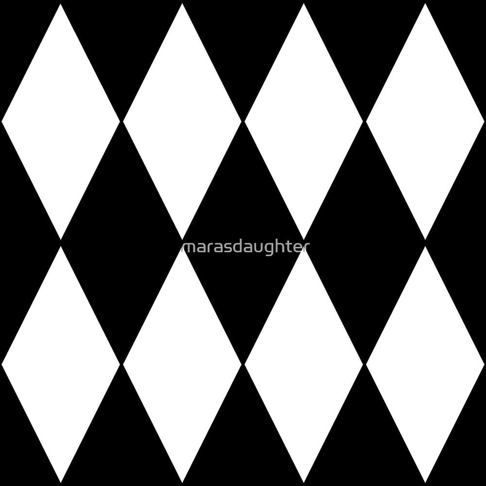black and white harlequin circus clown diamonds by marasdaughter