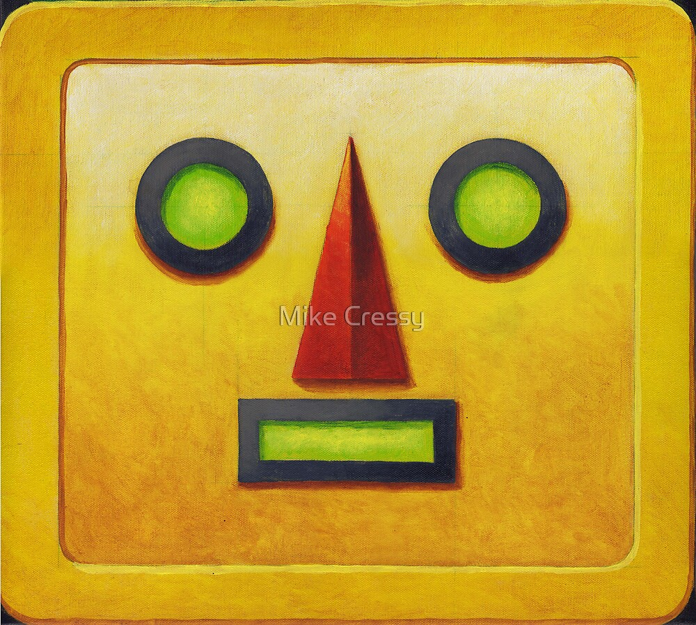 Yellow Robot Face by Mike Cressy
