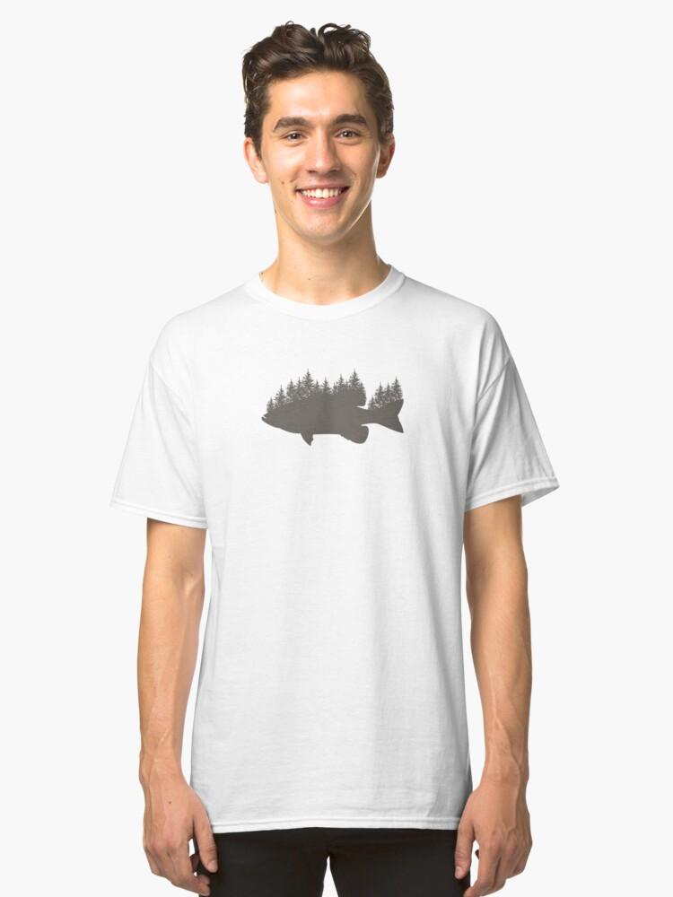 Smallmouth Vintage Forrest Silhouette Design Fishing Lovers Gift Weathered Classic T-Shirt Front