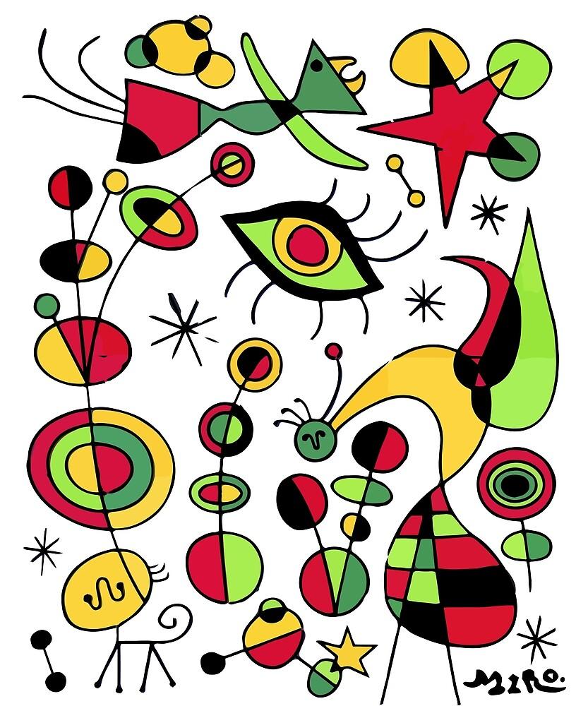 Joan Miro Peces De Colores (Colorful Fish ), T Shirt, Artwork Reproduction by Art-O-Rama  ©