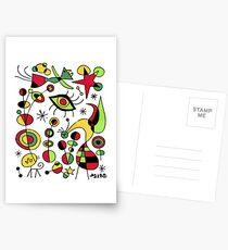Joan Miro Peces De Colores (Colorful Fish ), T Shirt, Artwork Reproduction Postcards