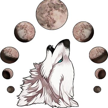 Wolf Howling At The Moon Phases by CaylinsDesigns