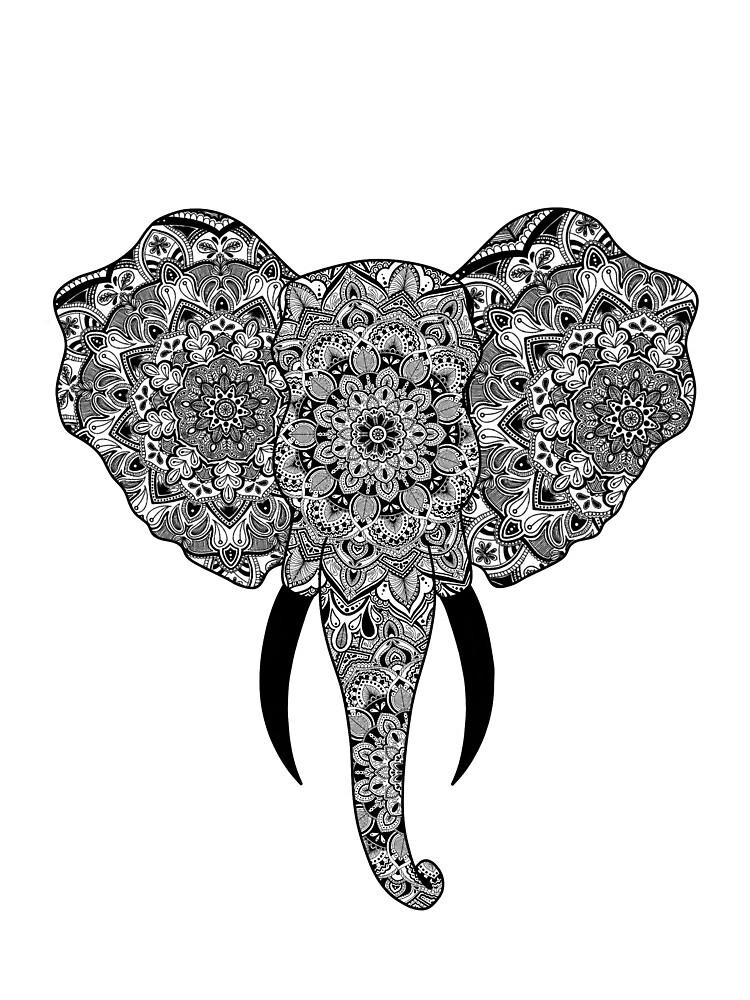 Black Mandala Elephant  by acgarrard