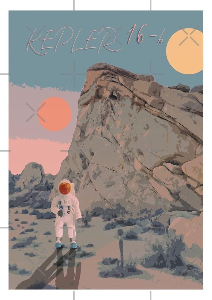 Kepler 16 - b Original art work. space print by Robert Cook