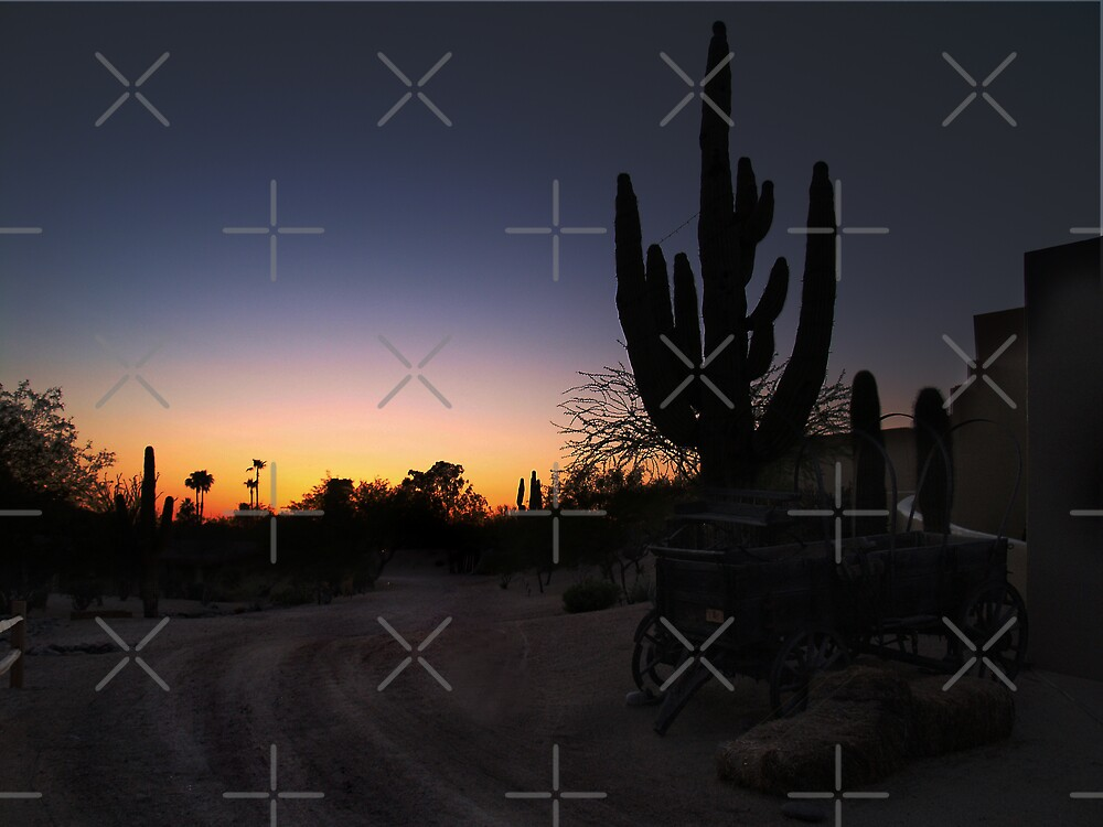 Wagon n Cactus at Sunset by pinkarmy25