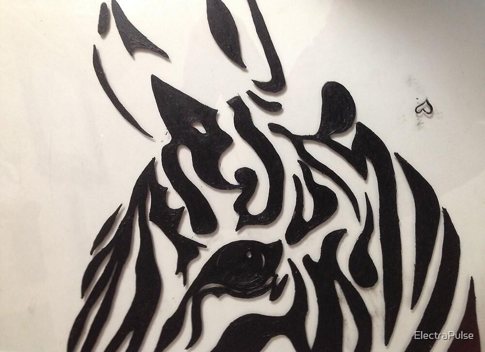 Zebra Oil on Glass by ElectraPulse