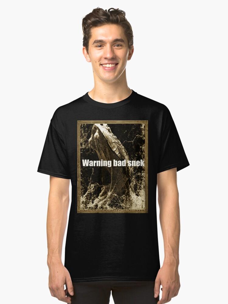 Mens Warning Bad Snek T-Shirt | Snake Meme Snek T-Shirt Classic T-Shirt Front