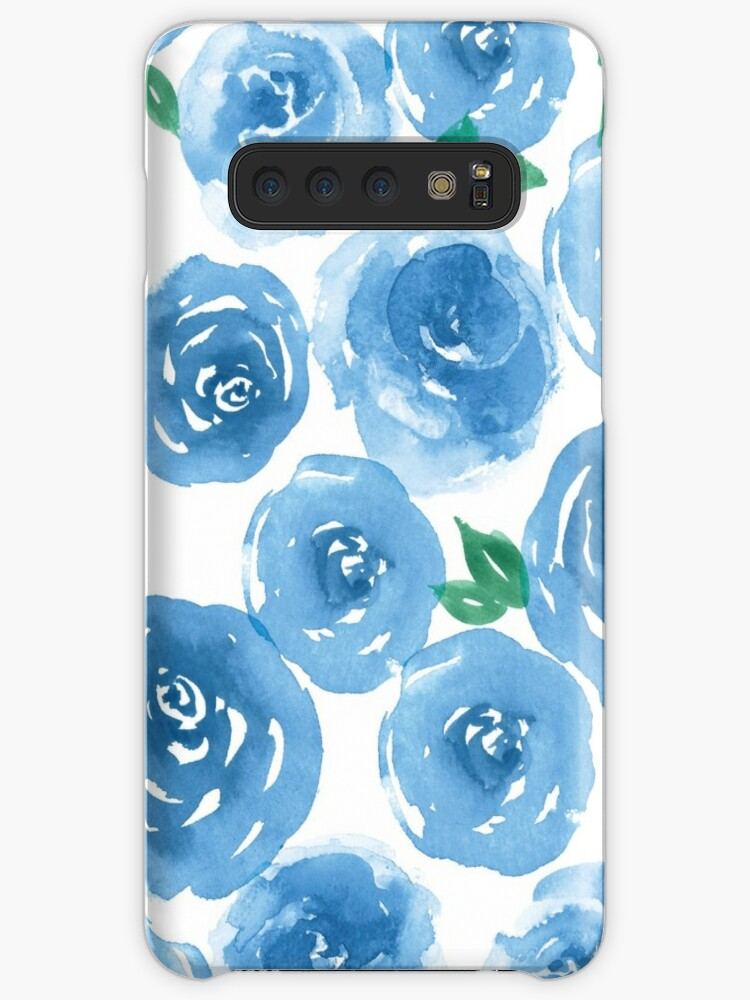 Cute Girly Blue Rose Watercolor Floral Pattern Country Chic by RedbubbleNoob