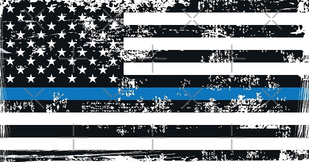 USA Flag Blue lives matter The thin blue line I back the blue USA MAGA Law Enforcement and policemen Grunge style by iresist
