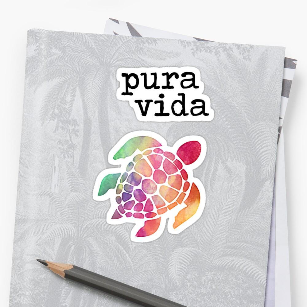 Pura Vida Turtle Sticker Front