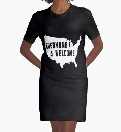 USA Everyone Is Welcome Graphic T-Shirt Dress