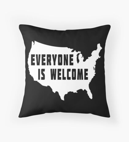 USA Everyone Is Welcome Throw Pillow