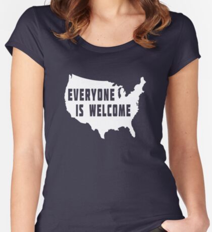 USA Everyone Is Welcome Women's Fitted Scoop T-Shirt