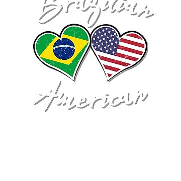 Brazil USA Flag Shirt Family Brazilian American Heart TShirt    by screenworks