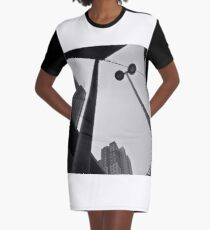 skyscrapers high-rise buildings in bw Graphic T-Shirt Dress
