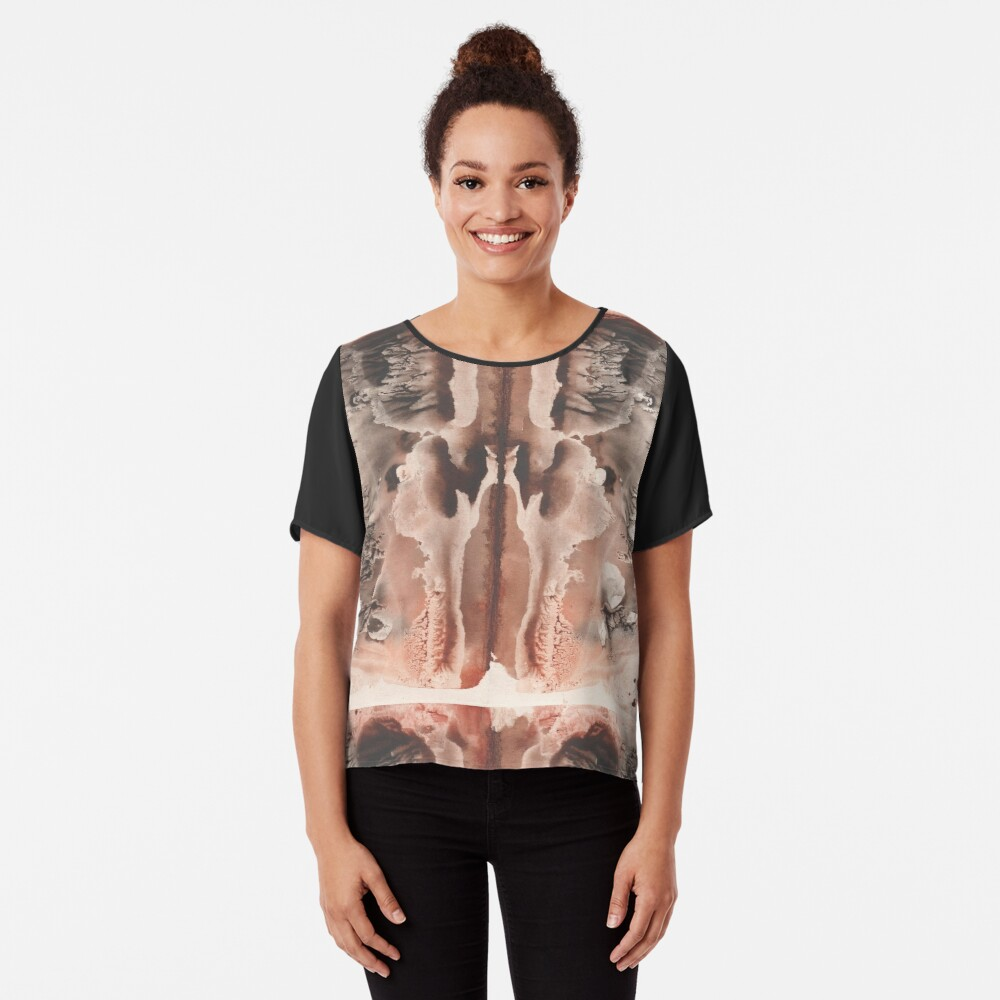brown Rorschach test, watercolor, monotype, abstract colorful symmetric painting Women's Chiffon Top Front