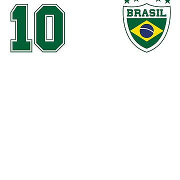 Classic Brasil Soccer No. 10 Brazil World Jersey Cup T Shirt by screenworks