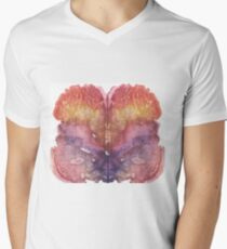 pink Rorschach test, watercolor, monotype, abstract colorful symmetric painting Men's V-Neck T-Shirt