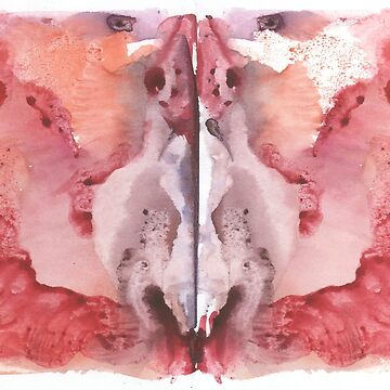 pink Rorschach test, watercolor, monotype, abstract colorful symmetric painting  by EkaterinaP