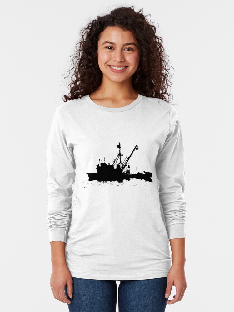 Alternate view of Fishing Boat Silhouette - Black on White/Color Background Long Sleeve T-Shirt