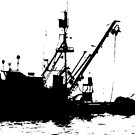 Fishing Boat Silhouette - Black on White/Color Background by Douglas E.  Welch