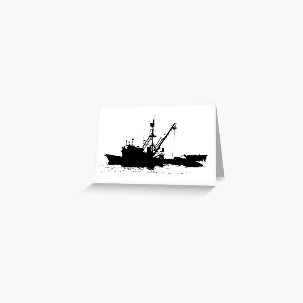 Fishing Boat Silhouette - Black on White/Color Background Greeting Card