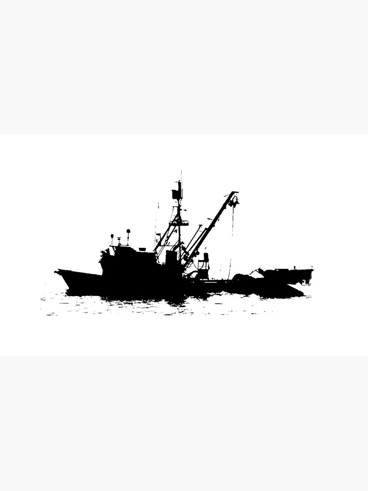 Fishing Boat Silhouette - Black on White/Color Background by douglasewelch
