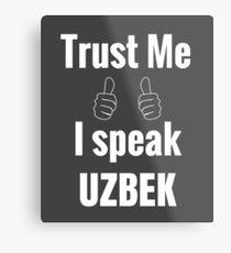 Funny Uzbek Gift Shirt For Men Women Kids Metal Print