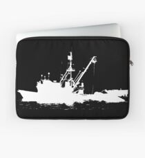 Fishing Boat Silhouette - White on Black/Color Background Laptop Sleeve