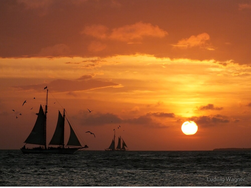 Sunset Sail in Key West III by Ludwig Wagner