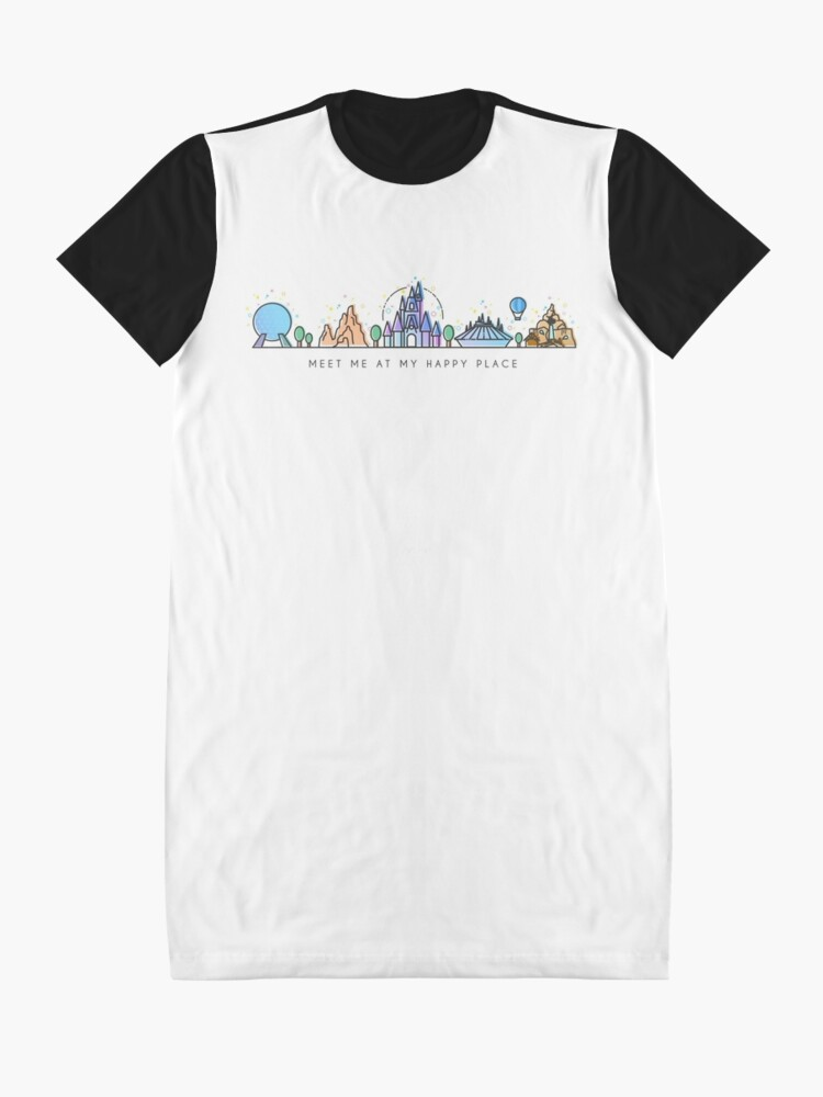 Alternate view of Meet me at my Happy Place Vector Orlando Theme Park Illustration Design Graphic T-Shirt Dress