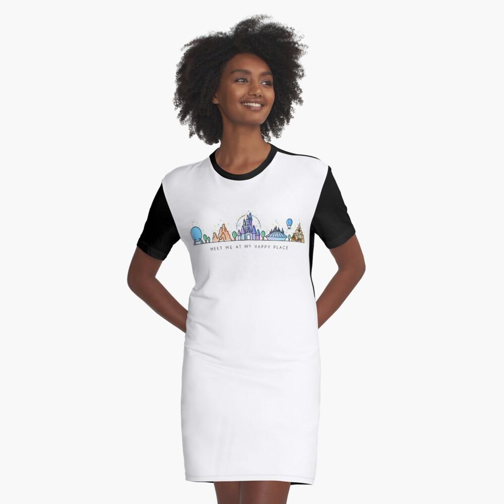 Meet me at my Happy Place Vector Orlando Theme Park Illustration Design Graphic T-Shirt Dress