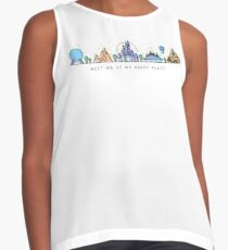 Meet me at my Happy Place Vector Orlando Theme Park Illustration Design Sleeveless Top