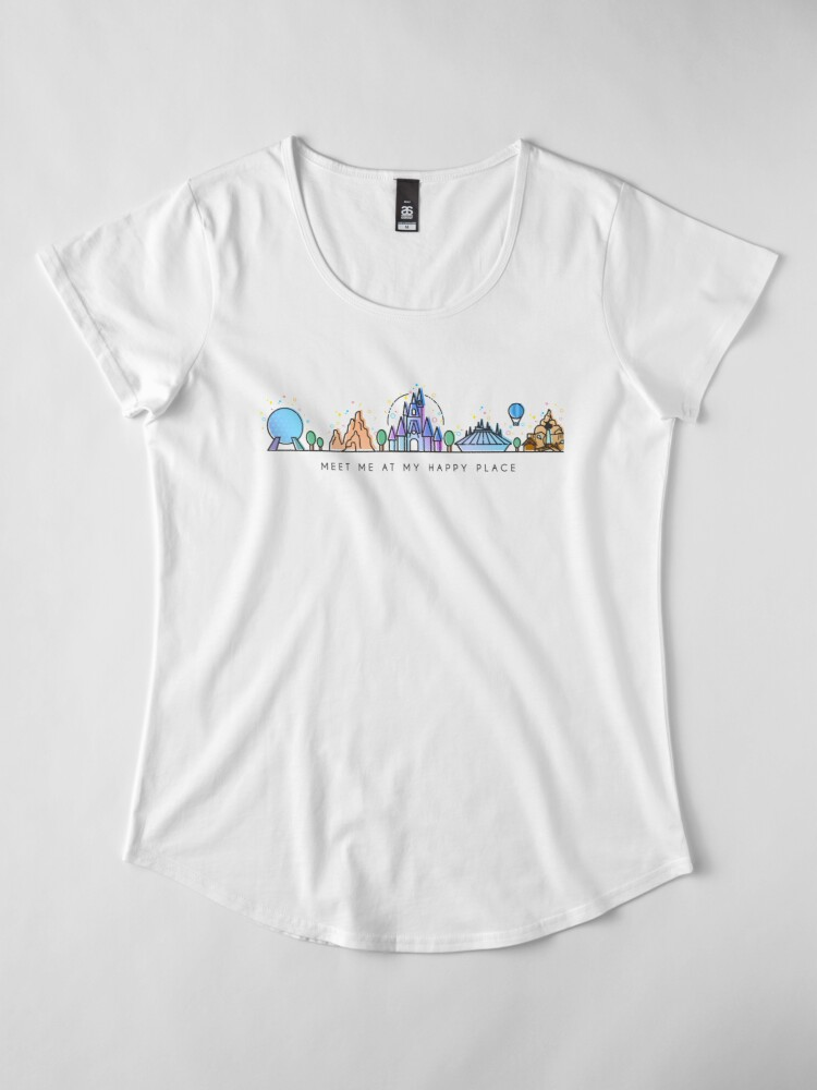 Alternate view of Meet me at my Happy Place Vector Orlando Theme Park Illustration Design Premium Scoop T-Shirt