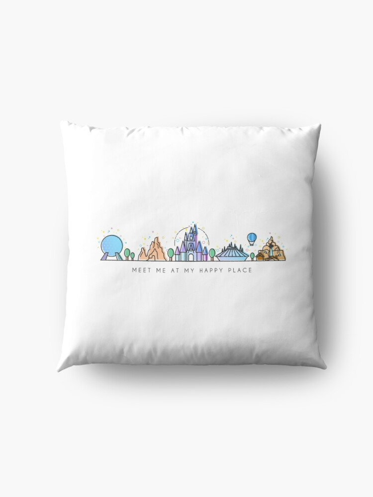 Alternate view of Meet me at my Happy Place Vector Orlando Theme Park Illustration Design Floor Pillow