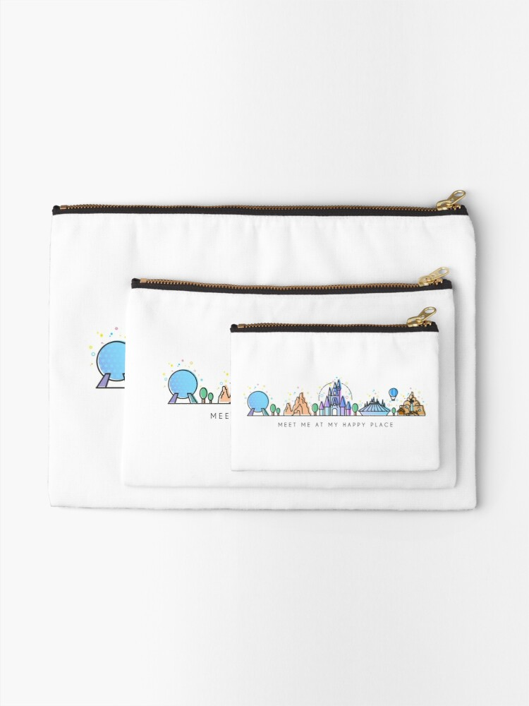 Alternate view of Meet me at my Happy Place Vector Orlando Theme Park Illustration Design Zipper Pouch