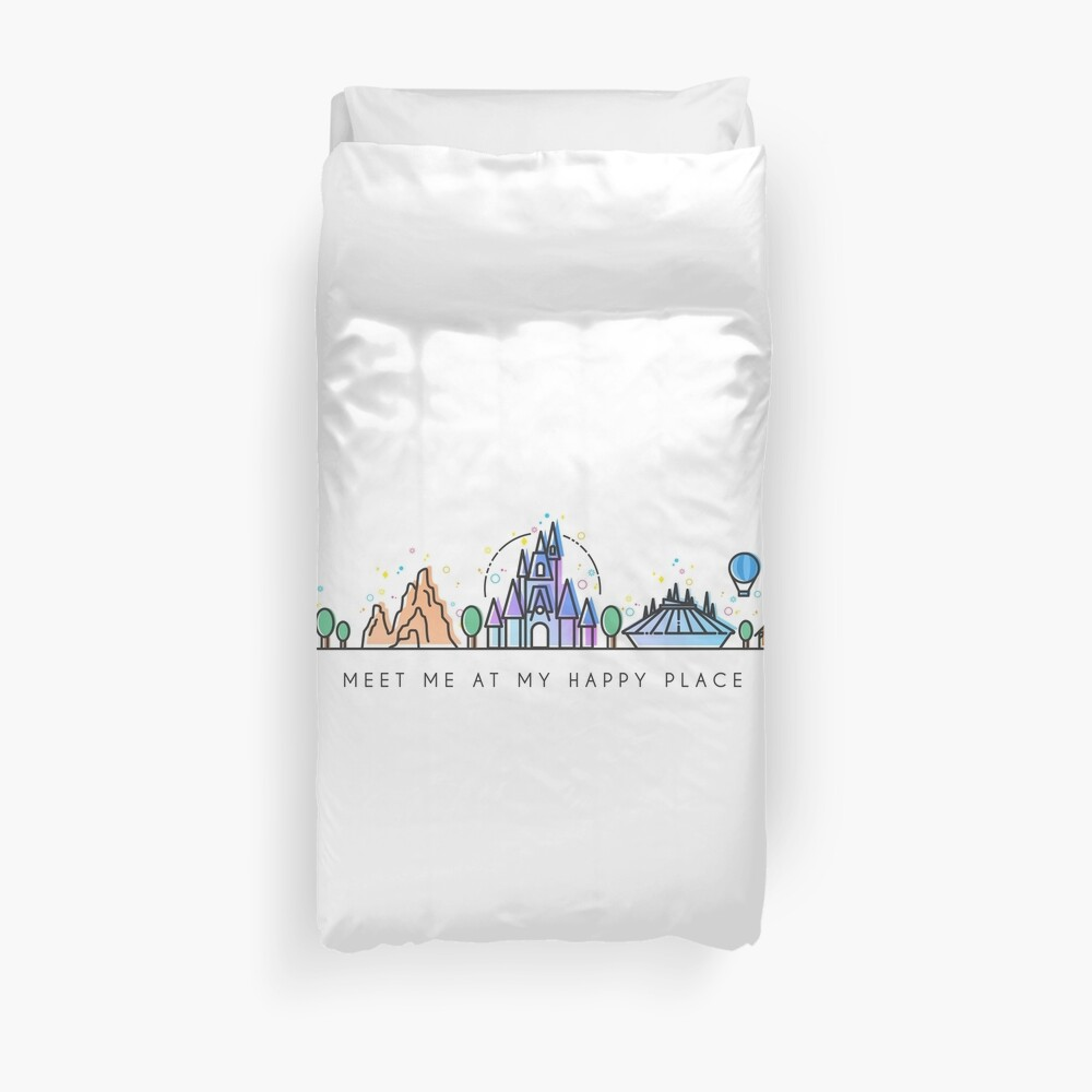 Meet me at my Happy Place Vector Orlando Theme Park Illustration Design Duvet Cover